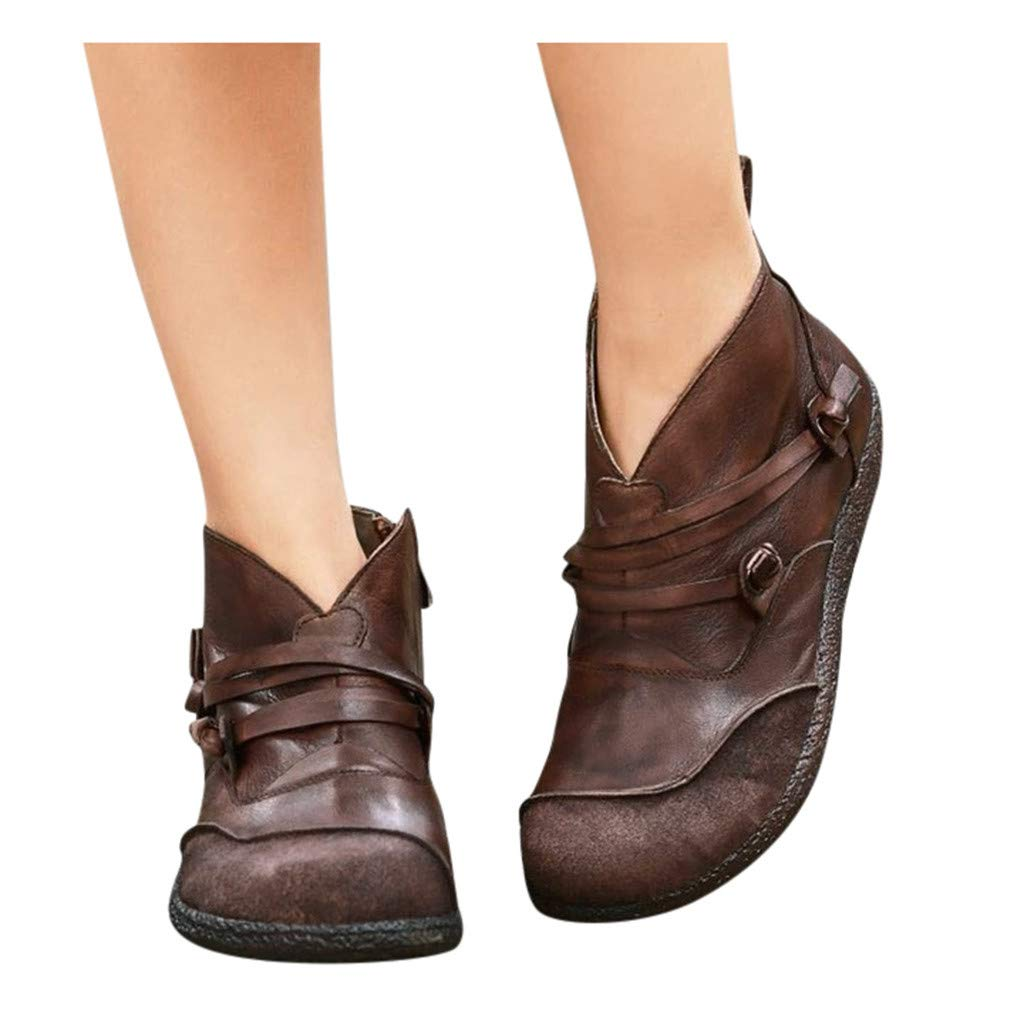Women's Casual Leather Short Boots Retro Zipper Short Ankle Boots Round Toe Flat Shoes Slip On Western Bootie 5.5-10.5 (US:6, Brown) by Aritone - Women Shoes