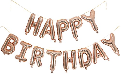 Langxun Foil Happy Birthday Balloons Banner For Birthday Party Supplies and Birthday Decorations (Rose Gold)
