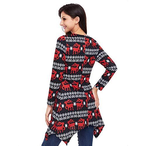 03 De Cuello Mujeres Regular Mini Falda Las Vestido Largas Navidad Mangas Impresión La Renos Redondo 6wqURATBU