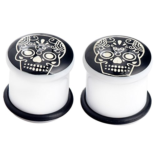 PHD LTD Acrylic Black Solid Luminous Skull Puncture Double Flared Ear Plugs Tunnels Expander Piercing Set Gauge 2g
