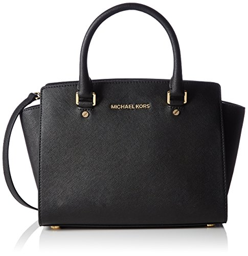 Michael Kors Women's Medium Selma Top-Zip Leather Top-Handle Satchel - Black