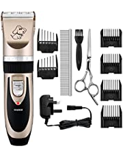 OMORC Electric Dog Clippers Low Noise Pet Clippers Rechargeable Cordless Dog Trimmer Pet Grooming Tool Kit Professional Dog Hair Trimmer with 4 Comb Guides scissors for Dogs Cats Pets