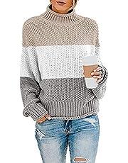 Yidarton Pullover Damen Elegant Winter Rollkragenpullover Strickpullover Grobstrickpullover Casual Lose Pulli Langarm Oberteile (3262-Khaki, X-Large)