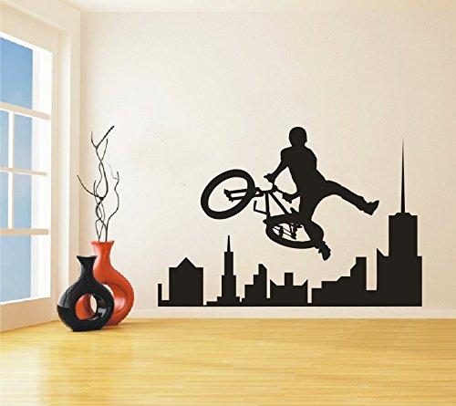 Cheap  Sport Bike BMX Wall Decal Removable Amazing Extreme sport BMX City Skyline..