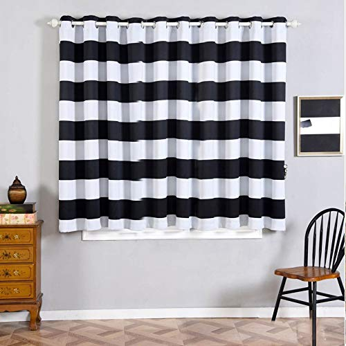 "Efavormart 2 Panels White/Black Cabana Stripe Thermal Insulated Blackout Curtains with Chrome Grommet Window Treatment 52""x64"""