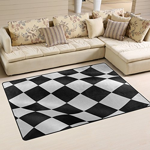 LORVIES Checkered Flag Area Rug Carpet Non-Slip Floor Mat Doormats for Living Room Bedroom 60 x 39 inches