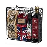WALL35 Country Style Chicken Wire Basket Kitchen Utensil Organizer Wall Mounted Storage Drawer Counter Top Organization (Black)