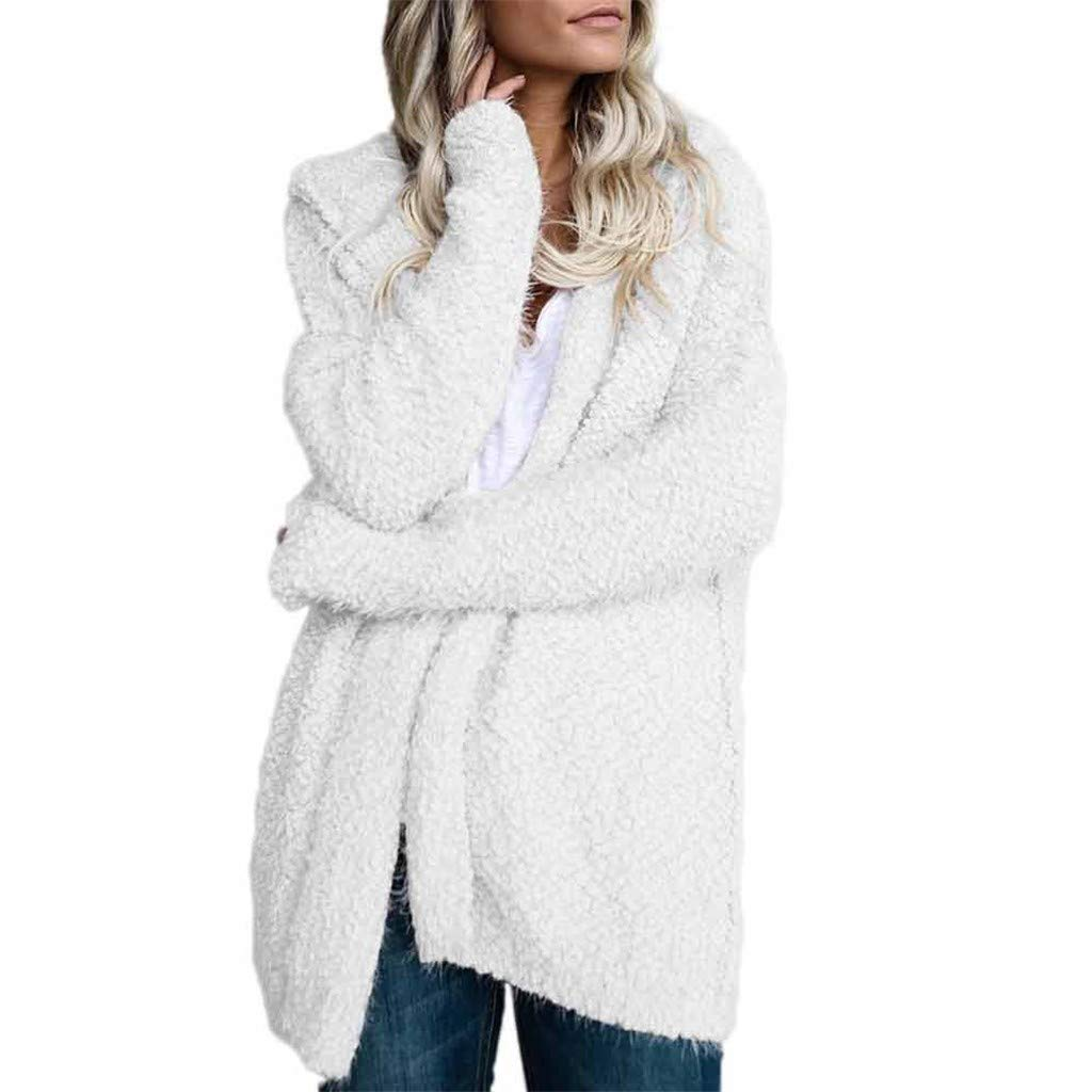 Oasisocean Womens Girls Casual Oversized Long Sleeve Fuzzy Fleece Hooded Sweatshirts Jacket Coats Outerwear with Pockets