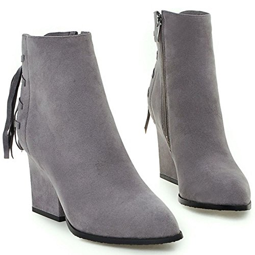 Women Zipper RAZAMAZA Block Ankle Booties Classic with Grey Heel fqZ47q