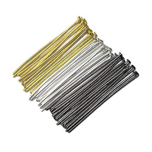 (Beading Station 300-Piece Mix Head Pins for Jewelry Making, 1.5-Inch/35mm, Silver/Gold/Black )