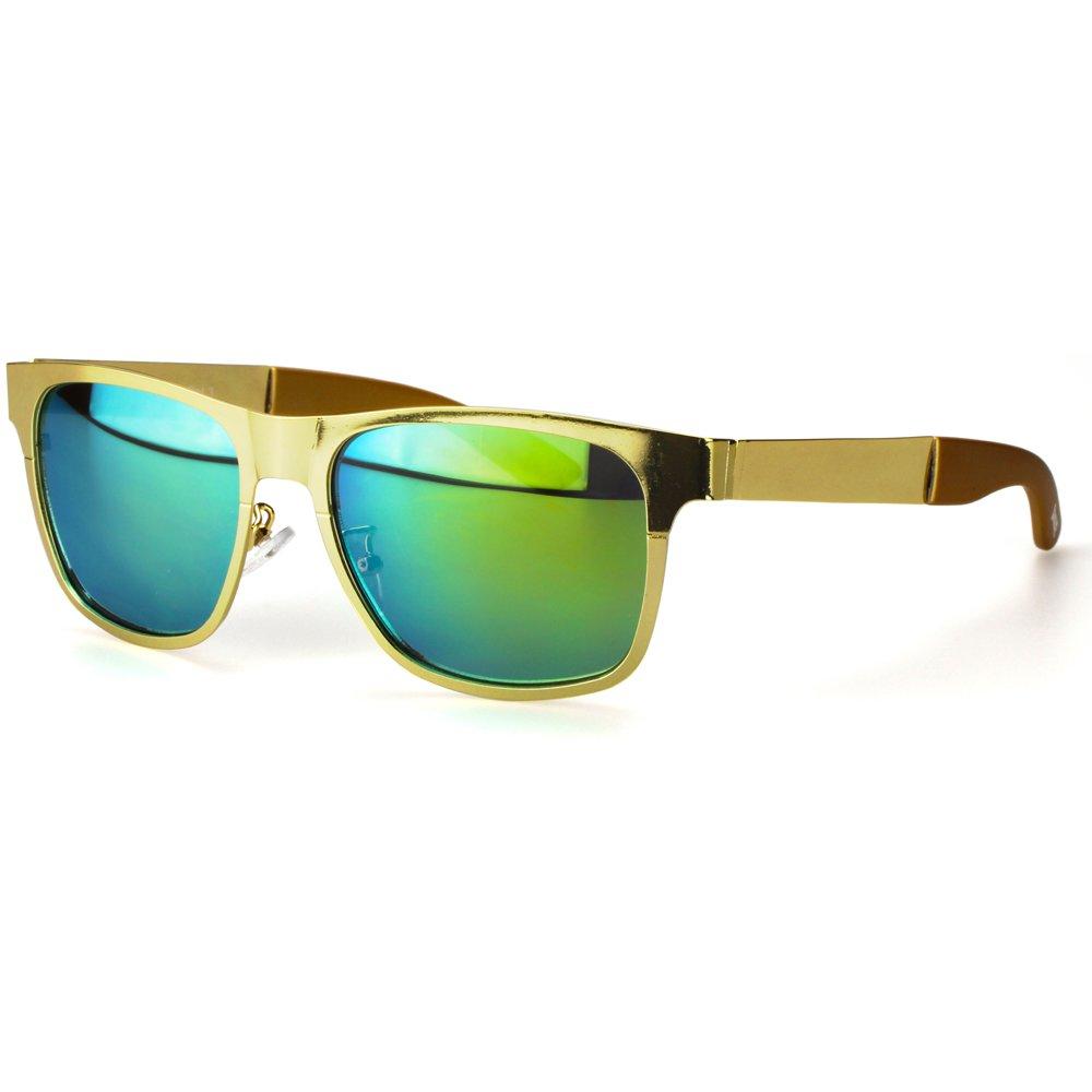 Sense42 Sportbrille Unisex Damen Herren Sport Sonnenbrille Metall silber mit silber verspiegelten Gläsern mit flexiblen Federschanierbügel mit Brillenbeutel FF0OKPX