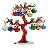 Qianruna Large Crystal Glass Apple Tree Ornaments 18pcs Hanging Apples Home Decor Figurines Christmas New Year Crafts Gifts Souvenir Miniatures