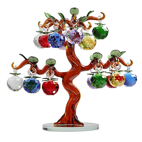 - Qianruna Large Crystal Glass Apple Tree Ornaments 18pcs Hanging Apples Home Decor Figurines Christmas New Year Crafts Gifts Souvenir Miniatures