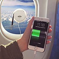 6000 mAh Solar Powered Phone Charger - External Battery Pack with Universal Charging Cable for Smartphones, Tablets by GreenLighting (White)