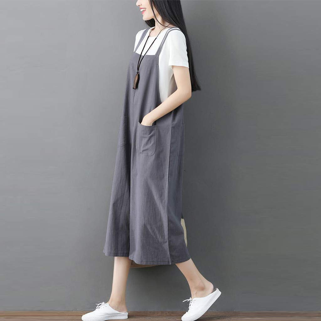YFancy 1PC Women Plus Size Rompers Comfy Cotton and Linen Daily Casual Loose Short Sleeve Long Jumpsuit Playsuit