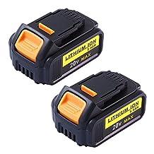 20V 5.0Ah Battery for Dewalt Max XR Lithium Cordless Drill DCB200 DCB180 2Packs