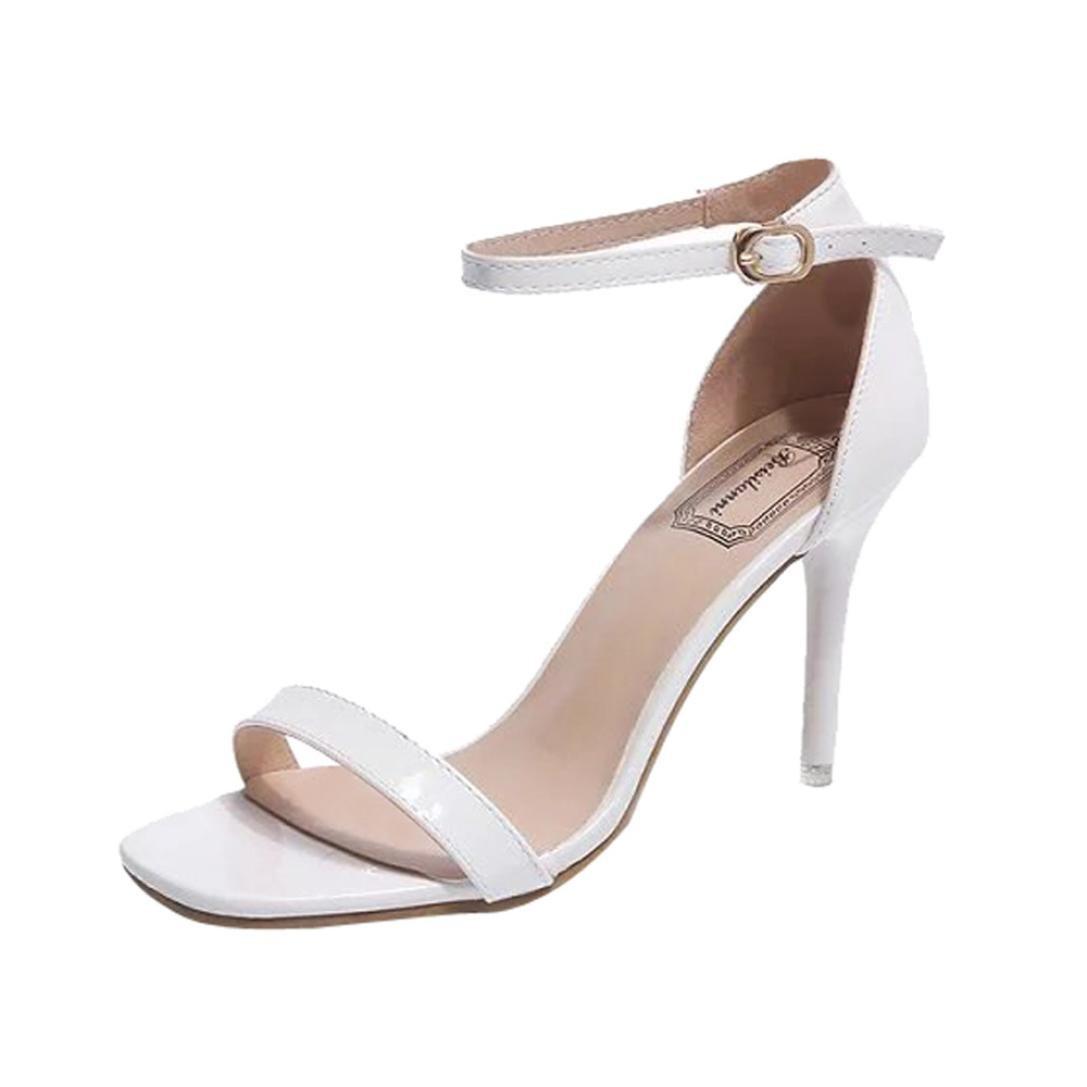 ASHOP Sandalias Mujer Bohemia Las Bailarinas Planas Zapatos de Cordones Verano High Heels Moda Zapatillas De Playa Sandalias y Chanclas de Cuero Cómodo Y Elegante 38 EU|Weiß