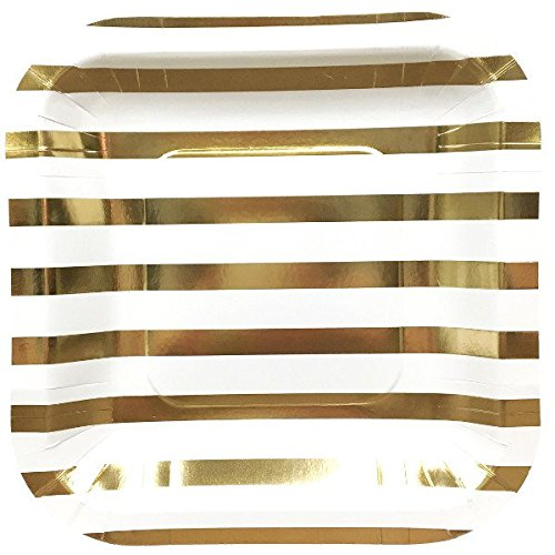 Just Artifacts Square Paper Party Plates 7.25in (12pcs) - Metallic Gold Striped - Decorative Tableware for Birthday Parties, Baby Showers, Grad Parties, Weddings, and Life Celebrations! (Paper Plates Striped)