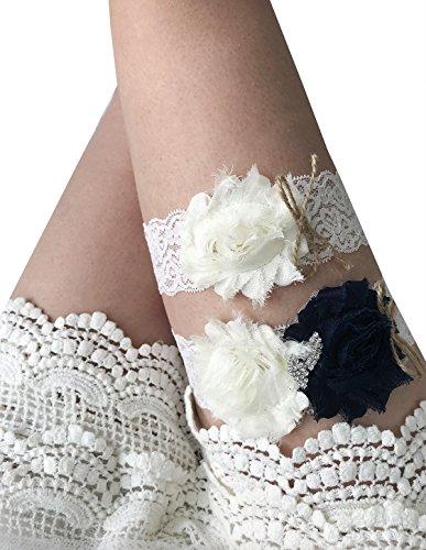 YuRong Bridal Garter Set Rose Garter Set Wedding Rhinestone Garter Set G29 (Navy) ()