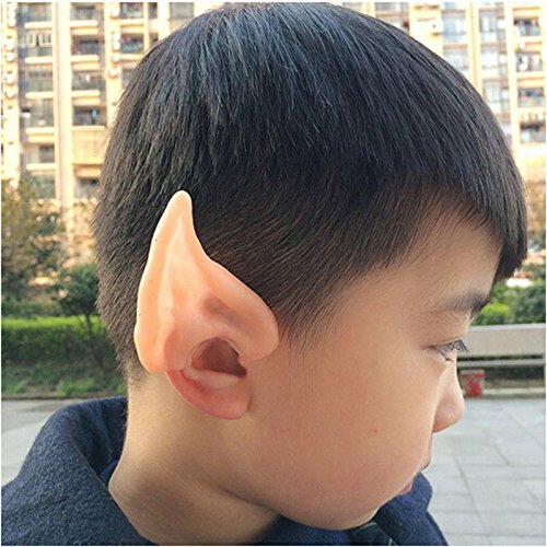 [1pairs alloween Party Cosplay Accessories Latex Soft Pointed Prosthetic Wizard Elf Fairy Alien Costume Tips Ears] (Red Hood Joker Costume)