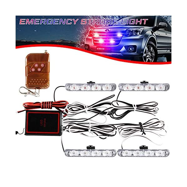4x4 LED luz de advertencia estroboscópica DC12V intermitente de emergencia lámpara de baliza remoto inalámbrico advertencia estroboscópica luz externa de emergencia para camión caravana Camper 1