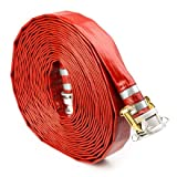Red 2'' x 100' PVC Lay Flat Camlock Medium Duty Discharge Hose and Backwash Hose
