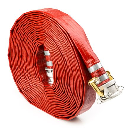 Red 2'' x 100' PVC Lay Flat Camlock Medium Duty Discharge Hose and Backwash Hose by FireHoseDirect