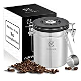 Magicafé Airtight Coffee Container Canister - With CO2 Valve Airscape Coffee Container With Scoop for Ground Coffee Beans Storage Medium 16oz