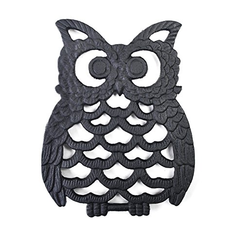Cast Iron Owl Trivet Pot Pad-Enameled Pot Insulated Pad, Decorative Trivet For Kitchen Counter or Dining Table Vintage ,with Rubber Pegs/Feet, 6.1x7.8""