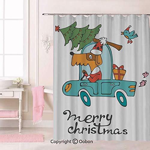 Oobon Blue Vintage Car Dog Driving with Santa Costume Cute Bird Tree and Gift Present, Fabric Bathroom Decor Set with Hooks, 84 Inches Extra Long -