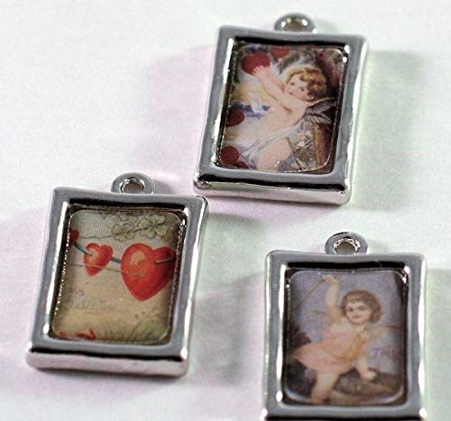 3 Silver Plated Pewter 20x15mm Photo Frame Charms with Hearts & Cherubs