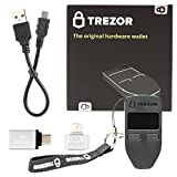 Trezor (Black) Bitcoin Wallet Bundle With VUVIV Micro-USB Adapter and USB-C Adapter for MacBook (3 items)