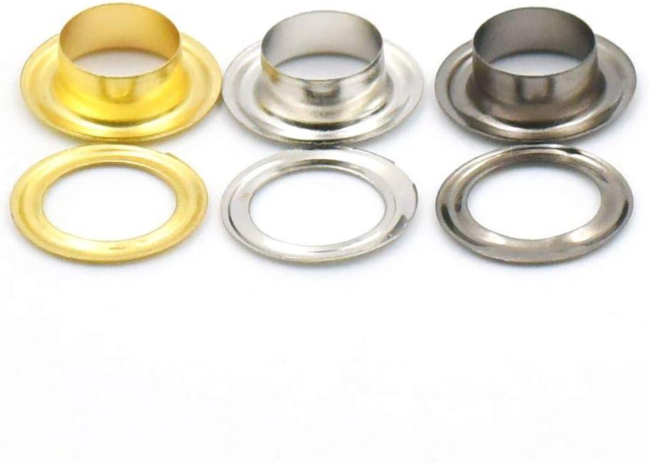 250 sets Grommets Eyelets 1//8 3//16 4//16 3//10 3//8 1//2 3mm 4mm 6mm 8mm 10mm 12mm for Clothes Self Backing Nickle Gold Black
