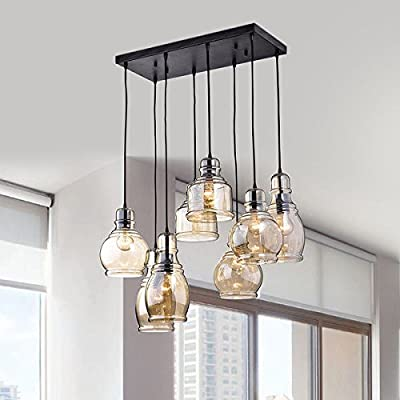 Mariana (L369-KL-654) Contemporary Style 8-Light Cognac Glass Cluster Pendant in Antique Black Finish