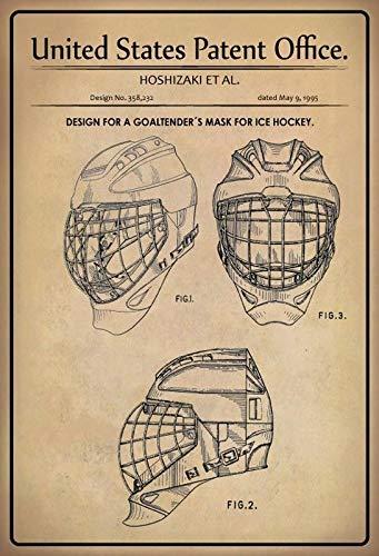 Jeremy Mann EE.UU. Patent Ice Hockey Mascara 1995 Metal Custom Metal Sign 12X8in-Bar Cafe Restaurant Home Decor ()