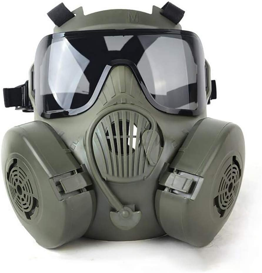 LTJY Táctico Dummy Anti Niebla máscara de Gas con Turbo Ventilador Airsoft paintbal protección Gear - Llavero Incluido