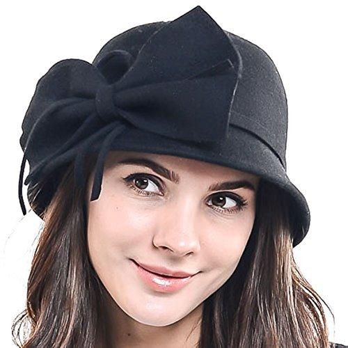 Women 100% Wool Bow Cloche Bowler Bucket Dress Hat Z06 (Black)