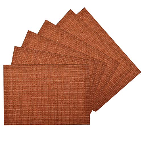 (Benson Mills Woven Vinyl/Metallic PLACEMATS Set of 6 (Burnt Orange, 13 X 18))