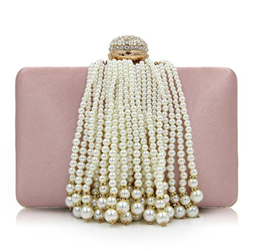 Women Cross Satin Clutches Body Handbag Totes Pink Pearl Bags Purse Tassel Beaded Clutch Bag Evening TrTHqvw