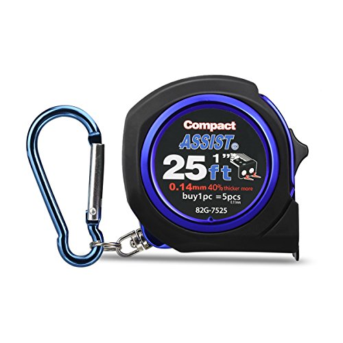 ASSIST 25ft(7.5m) Tape Measure Inches and Metric Measurement Double Sided Retractable Measuring Tape with Magnetic Hook Nylon Coated Ruler and Lock Carabiner for Homeowners DIYers Designers, Blue