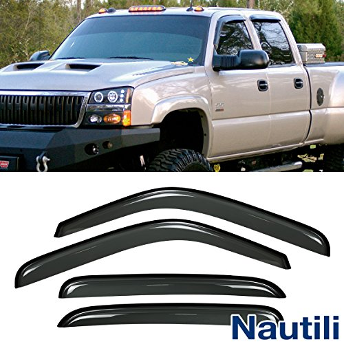 - VioletLisa New 4pcs For Chevy/GMC/Cadillac Crew Cab SUV Dark Smoke Out-Channel/Outside Mount Style Wind Sun Rain Guard Vent Shade Deflector Window Visors