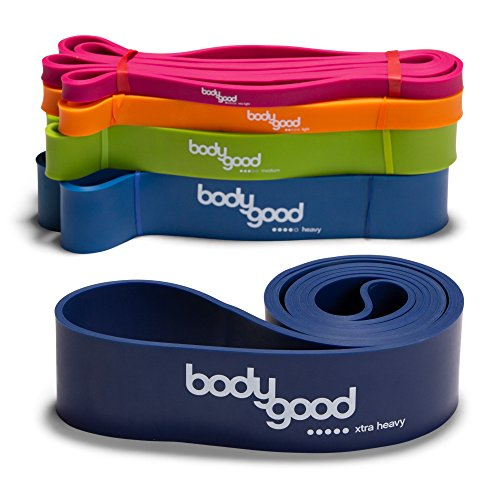 BodyGood Pull Up Assist Resistance Bands. Heavy-Duty Elastic Exercise Band for Training, Stretching, and Mobility Workouts. Set or Single Band. Comes with Free Instructional Video. ()