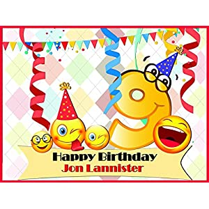 Custom 9 Year Old Kids Emoji Birthday Poster - Size 24x36, 48x24, 48x36; Personalized Smileys in Eyeglasses Birthday Banner Wall Décor, Handmade Party Supply Poster Print