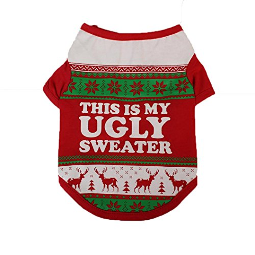 (FUNIC Pet Clothes, Christmas Festival Dog Clothing Cotton T shirt Puppy Costume (M,)