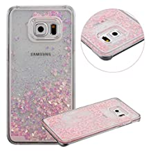 Galaxy S6 Edge Plus Case, TIPFLY Flowing Liquid Floating Luxury Bling Glitter Sparkle Cover with Love Heart Powder, Clear Dual Layer Hard Plastic Case for Samsung Galaxy S6 Edge Plus - Pink