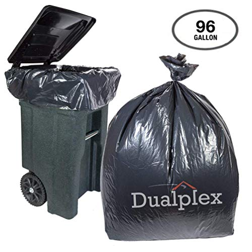 Dualplex 96 Gallon Black Trash Bags for Toter 1.5 Mill Garbage Bag 25 Bags Per Case 61