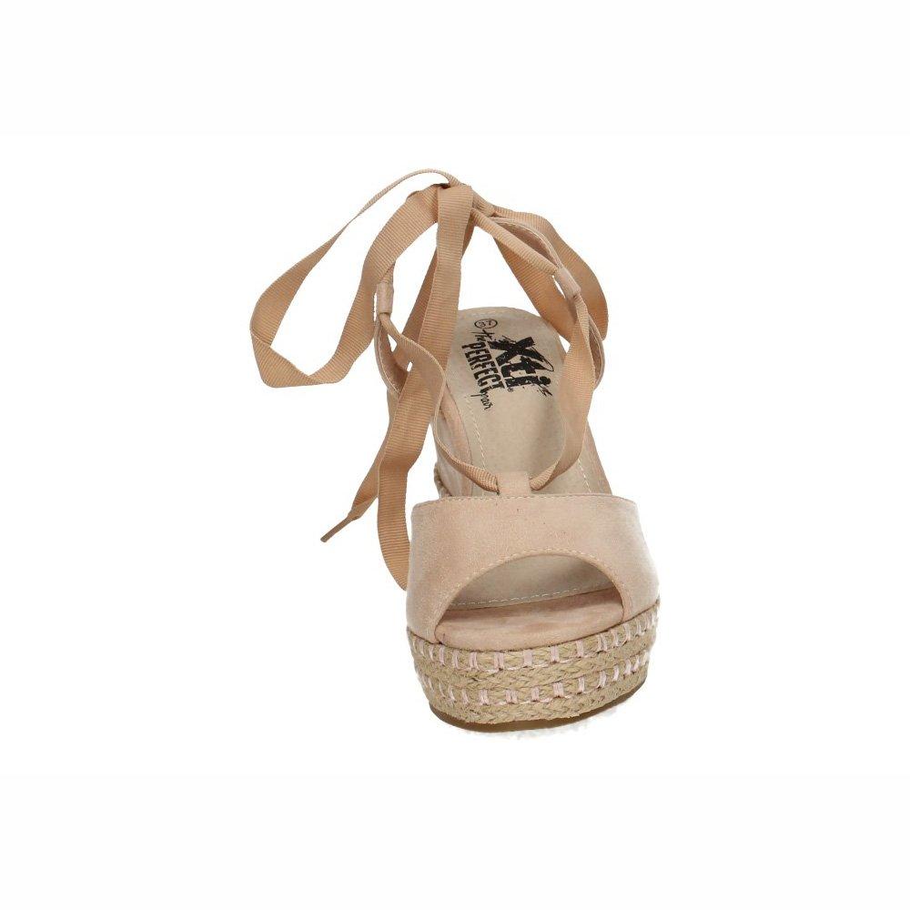 Sandalia Cuña Nude Zapatos Tiras Xti 47609 45qcRAjLS3