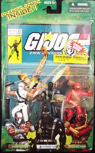 G.I. JOE Hasbro Valor Vs. Venom 3 3/4 Inch Action Figure 3Pack Storm Shadow, Snake Eyes Red Ninja Viper ()