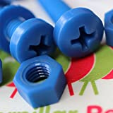20 x Blue Philips Pan Head Screws Polypropylene (PP) Plastic Nuts and Bolts, Washers, M6 x 20mm, Acrylic, Water Resistant, Anti-Corrosion, Chemical Resistant, Electrical Insulator, Strong.