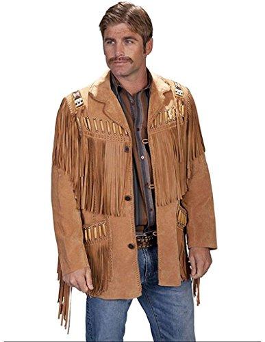 (Scully Men's Bone Beaded Fringe Leather Jacket Bourbon 48 R)